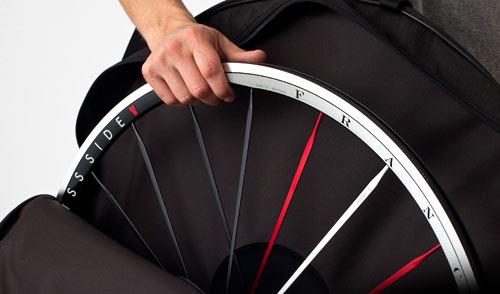 Swiss Side Franc road cycling wheels in a wheel bag
