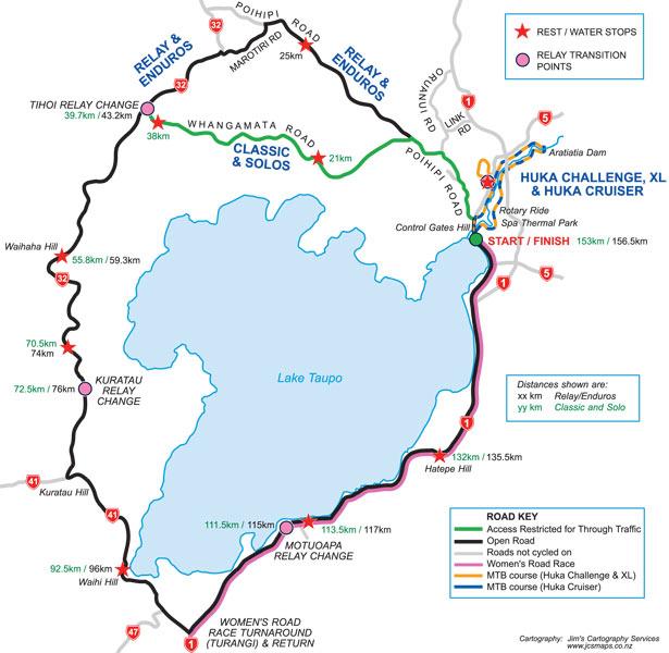 160km Lake Taupo Cycle Challenge Map