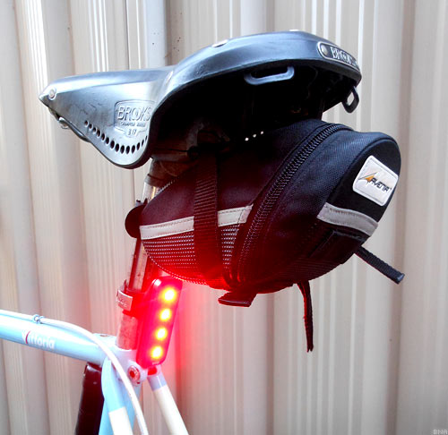 Knog Blinder Light Obstructed by a Saddlebag