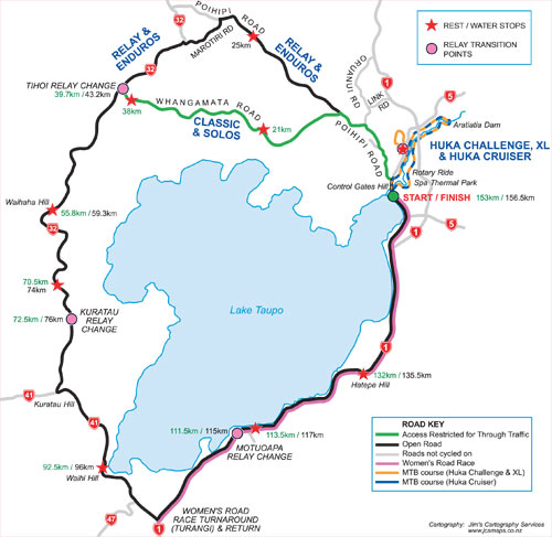 Map of the Lake Taupo Cycle Challenge Road Course
