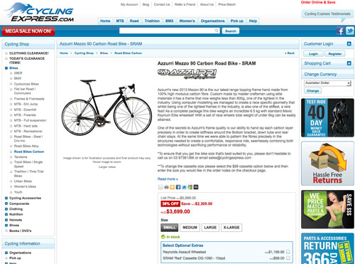Buying Online from Cycling Express