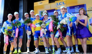 Simon Gerrans of GreenEdge in Yellow at the Tour ded France
